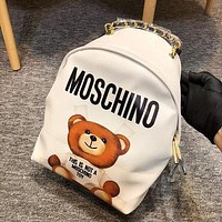MOSCHINO Women Casual School Bag Cowhide Leather Backpack