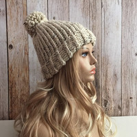 Chunky oatmeal knitted women hat beanie, gift or for you