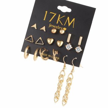 17KM Earring Sets 9 Pairs Sets Tassel  Ball Crystal Stud Earrings For Women Mixed Heart Love Silver Color Earring Gifts