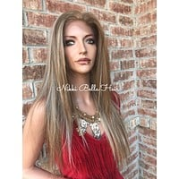 """Hannah hi lite Blond straight Human Hair Blend Multi Parting 22"""" Lace Front Wig"""