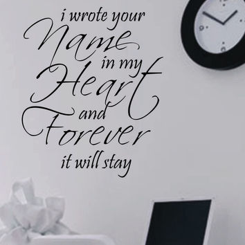 Wrote Name in Heart | Romantic Decal | Vinyl Wall Lettering