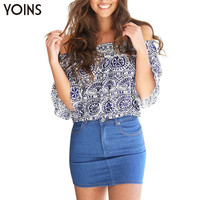 Women Fashion Floral Print Off The Shoulder Crop Top Ladies Casual Short Tee Clubwear Female Loose Sexy Boho Tank Tops