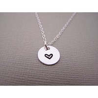 Tiny Heart Hand-stamped Sterling Silver Necklace