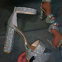 New ladies sequined personality thick heel sandals with rhinestones