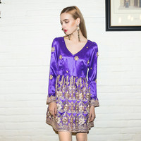 Casual Purple Embroidered V-Neck Long Sleeve Mini Dress