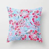 Sweet Spring Floral - cherry red & bright aqua Throw Pillow by Micklyn