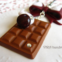 Kawaii cute handmade polymer clay chocolate whipped cream cherry bowknot cell phone strap charm
