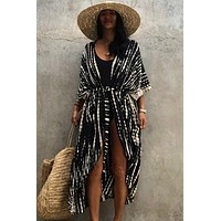 SuperAen New Beach Blouses Tie-dyed Pattern Printed Sunscreen Cardigan Holiday Dresses Women