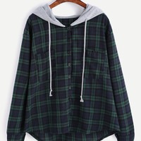 Plaid Button Pocket Sweatshirt With Contrast Hood -SheIn(Sheinside)