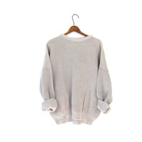 Loose Knit Plain Off White Sweater Basic Grunge Pullover Vintage Simple Slouchy Boyfriend Boxy Distressed Mens Women Large XL