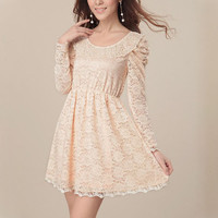 Fashion Beige A Dress, Women Long Sleeve Lace Dress, Special Occasion High Knee Dress, Wedding Party Dress,