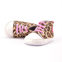 Fashion Beautiful Baby Shoes Infant Boys Girls Shoes Soft Sole Lace Up Leopard Cotton Sneakers Shoes Lisa's Store NW
