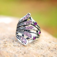 Vintage Silver Rhinestone Peacock Animal Ring at Online Cheap Fashion Jewelry Store Gofavor