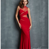 (PRE-ORDER) Night Moves by Allure 2014 Prom: Red Jersey & Illusion Keyhole Prom Dress