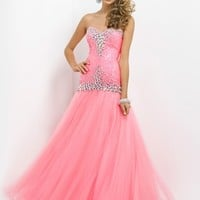 Beaded Large Stone Bodice Tulle Skirt Fit And Flare Prom Dress By Blush 9712