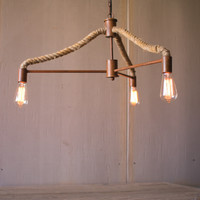 Hanging Pendant Light - Three Lights with Rope Detail