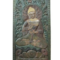 """Intricately Hand Carved Wood Teaching Buddha Door Wall Panel India 72"""" X 36"""""""