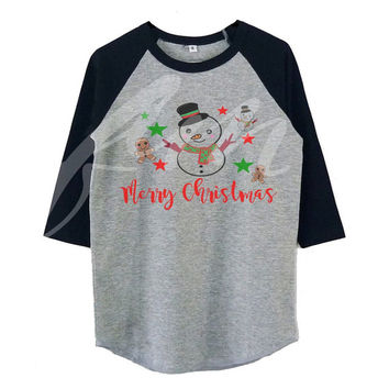Cute snowman raglan shirt for kids toddlers boys girls tops Baby clothes **kids clothings
