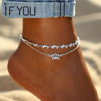 IF YOU Special Lotus Meditation Charm Chain Foot Anklet Vintage Beach Silver Color Pendant Anklets For Women Jewelry