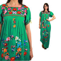 Mexican Dress Embroidered Dress Maxi Oaxacan Boho Cotton Tunic 70s Hippie Floral Ethnic Green 1970s Bohemian Vintage Embroidery Green
