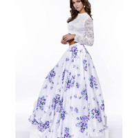 Preorder -  White Lace & Purple Floral Print Two Piece Gown 2016 Prom Dresses