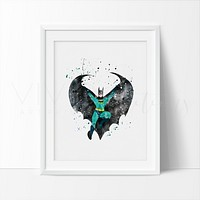 Batman Watercolor Art Print