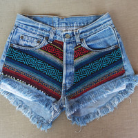 Levi high waisted denim shorts Aztec tribal super frayed Hipster Soft Grunge Tumblr clothing by jeansonly