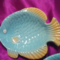 A Set of Two Baby Blue Ceramic Fish Shaped Plates - Candy Dish