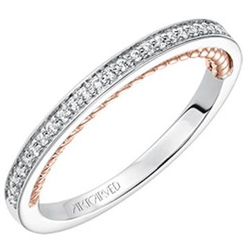 "Artcarved ""Marlow"" White & Rose Gold Diamond Wedding Band"