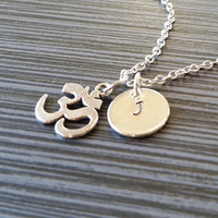 Silver Om Necklace - Ohm Jewelry - Personalized Necklace - Custom Gift - Yoga Charm Pendant - Yoga Jewelry - Yoga Instructor Gift