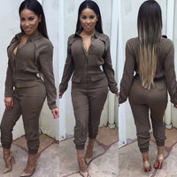 Sexy zip long sleeve Lapel waist women Jumpsuit 2015 Women  long Rompers jumpsuit deep V Overalls