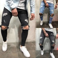 2018 Mens Skinny Stretch Denim Pants Distressed Ripped Freyed Slim Fit Jeans Trousers