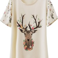 Sheinside Women's Apricot Short Sleeve Deer Print Loose T-shirt