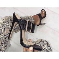Fashionable women's sexy sandals with big buttons and thin super high heel slippers