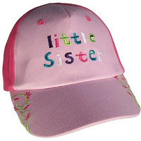 """N'ice Caps Baby Girl """"Big Sister,"""" """"Little Sister"""" Embroidered Cap (12-24 months, pink/fuchsia little sister)"""
