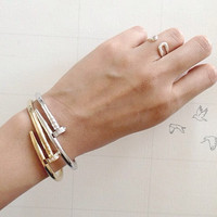 Gold Love Bangle Bracelet with Stone 7inches