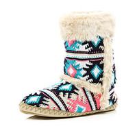 coral and blue navajo print slipper boots