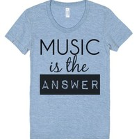 Music Is The Answer-Female Athletic Blue T-Shirt