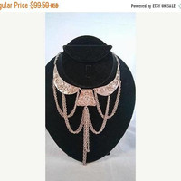 ON SALE Vintage Bib Runway Necklace, Vintage Statement Silver Tone Necklace, Mad Men Mod, Old Hollywood Glamour, 1950's 1960's Jewelry