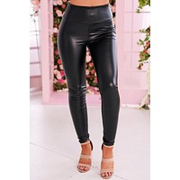 No Objections Faux Leather Leggings (Black)
