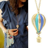 Towallmark 1PC Newest LovelyColorful Jewelry Aureate Drip Hot Air Balloon Pendant Long Necklace