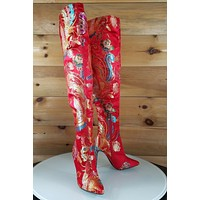 CR Gigi 39 Red Satin Oriental Phoenix Embroidery OTK Thigh Boot High Heel