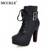 MCCKLE Women Fashion High Heels Lace Up Ankle Boots Female Zip Double Buckle Sexy Party Dress Pump Woman Platform Shoes