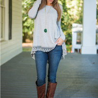Gray Lace Long-Sleeve Asymmetrical Shirt