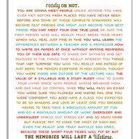 Ready Or Not Typographic Print. Dorm Room Art. College Life Memories. Gift For High School Graduate. Dorm Decor. New College Student Gift.