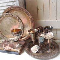 Rustic Vintage Silver Plate Decor, Ornate Silver Trays and Set of 6 Eclectic Goblets, Wedding Table Display, Farmhouse Kitchen, Shabby Chic