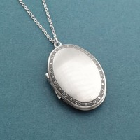 Oval, Plain, Locket, Photo, Silver, Necklace, Birthday, Best friends, Sister, Gift, Jewelry