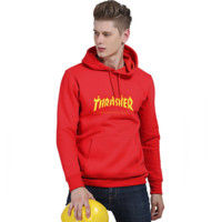 """""""Thrasher""""Thickening hoodie hooded cotton red flame red letters Red"""