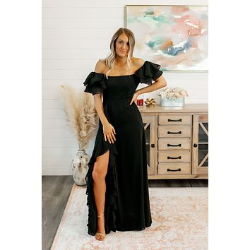 The Catalina Ruffle Slit Gown (Black)FINAL SALE