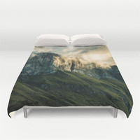 Duvet Cover, Mountain Mist Fog Clouds Bedding Cover, Decorative Nature Bedroom Decor, Home Decor, King, Queen, Full